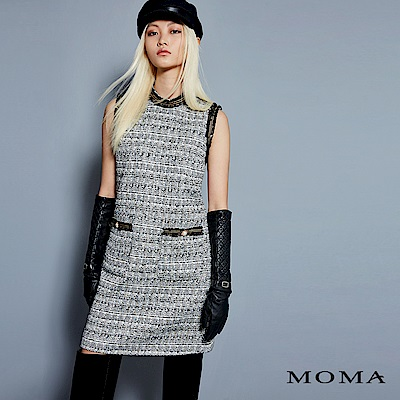 MOMA 小香風毛呢無袖洋裝