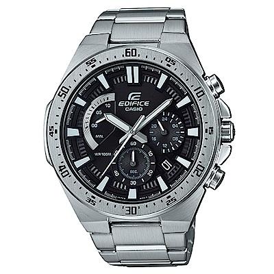 EDIFICE 立體時刻扇形錶眼復古設計賽車腕(EFR-563D-1A)黑面/48.9mm