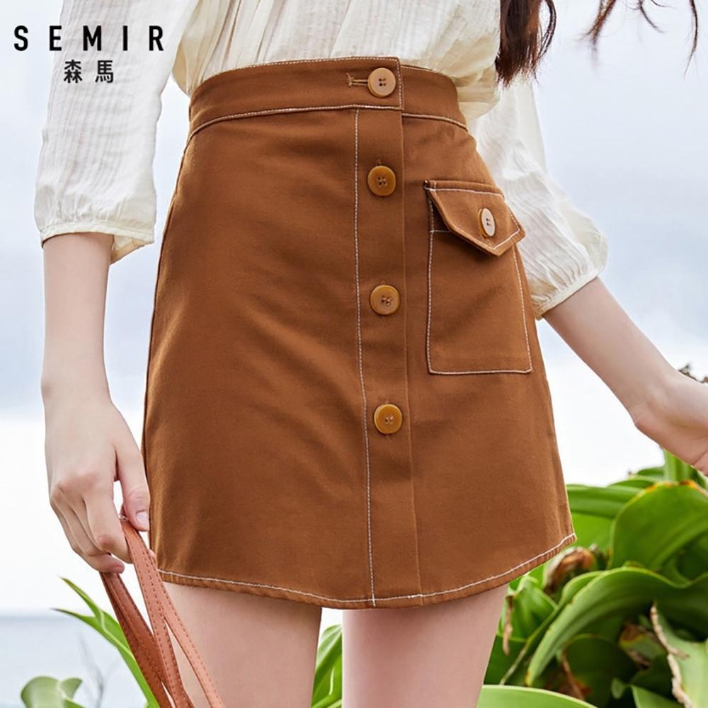 SEMIR森馬-鬆緊腰頭造型車線顯瘦短裙-女