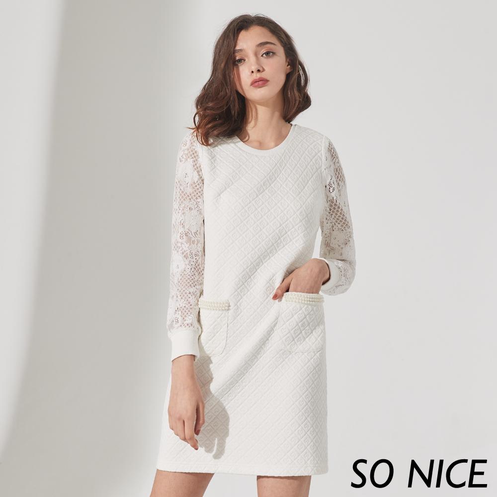 SO NICE氣質菱格蕾絲拼接洋裝
