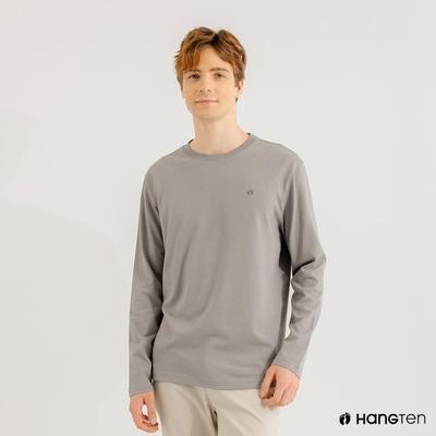 Hang Ten-男裝-厚磅腳丫長袖T恤-灰色