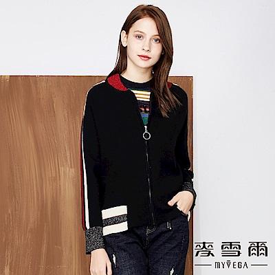 【麥雪爾】時尚金蔥羊毛針織外套