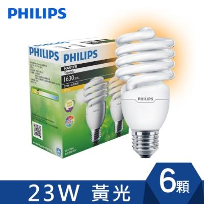 飛利浦-PHILIPS Tornado省電燈泡 23W 黃光(6入)