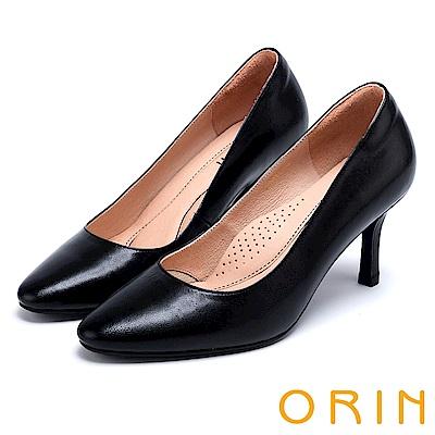 ORIN 時尚魅力 簡約剪裁素面真皮高跟鞋-黑色