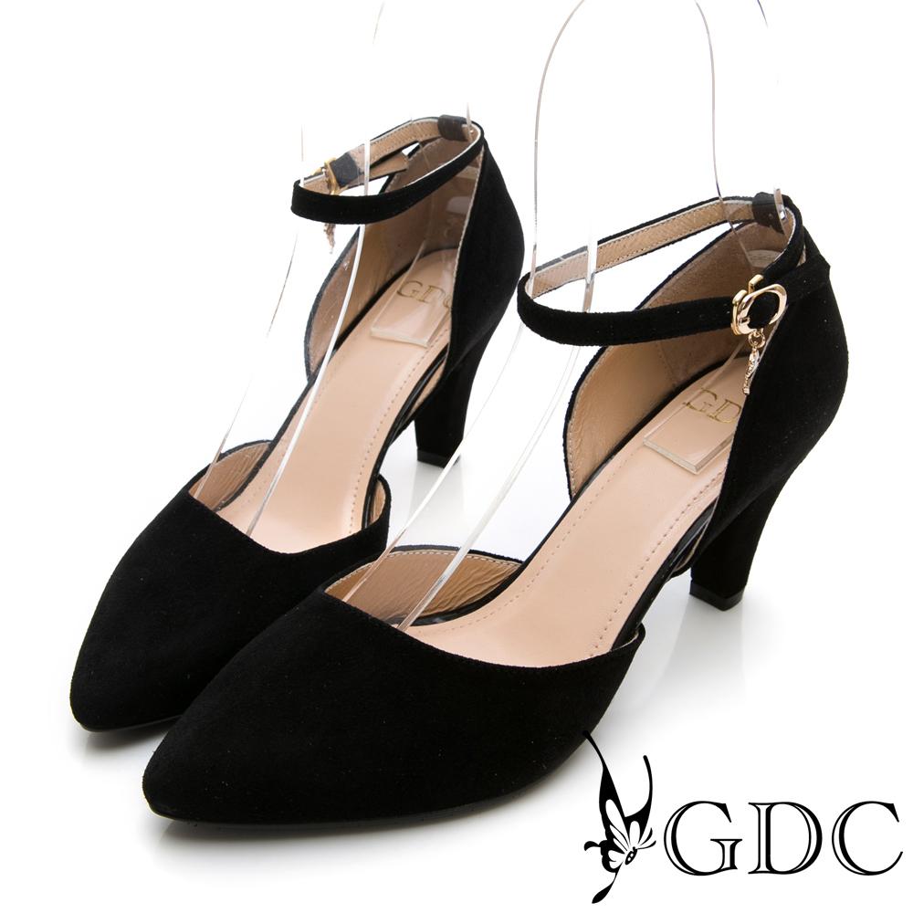 GDC-真皮氣質尖頭繞踝中跟鞋-黑色