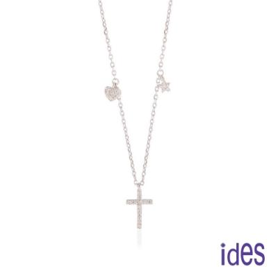 ides愛蒂思 日韓時尚設計純銀晶鑽項鍊鎖骨鍊/個性十字架