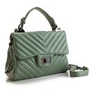 MOROM 羊皮時尚V型紋三用包(綠色)