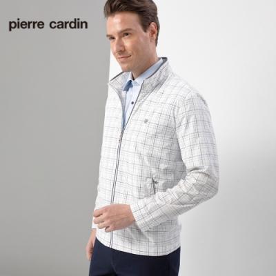 Pierre Cardin皮爾卡登 男裝  格紋立領輕薄防曬夾克外套-白色(5207661-90)