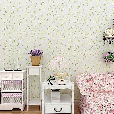 半島良品 防水PVC自黏裝飾牆紙45x200cm-綠色小花