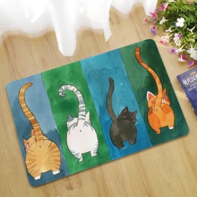 BUNNY LIFE 背影貓-3D數位橡膠薄款地墊-小(40x60cm)