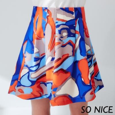 SO NICE時尚手繪感印花短裙