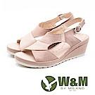 W&M 輕量魚口鬆緊套腳楔型涼鞋 女鞋 - 裸粉色(另有米)