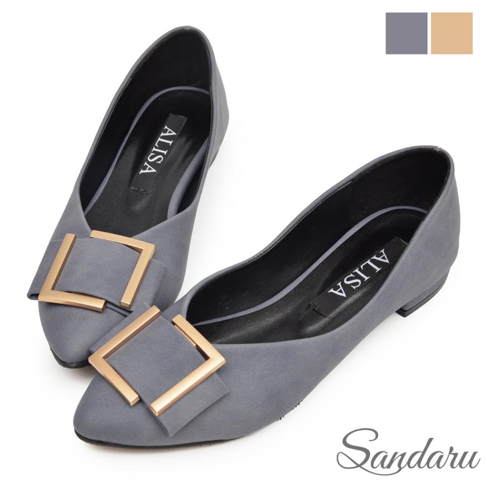 山打努SANDARU-低跟鞋 大方蝶結釦尖頭鞋-灰