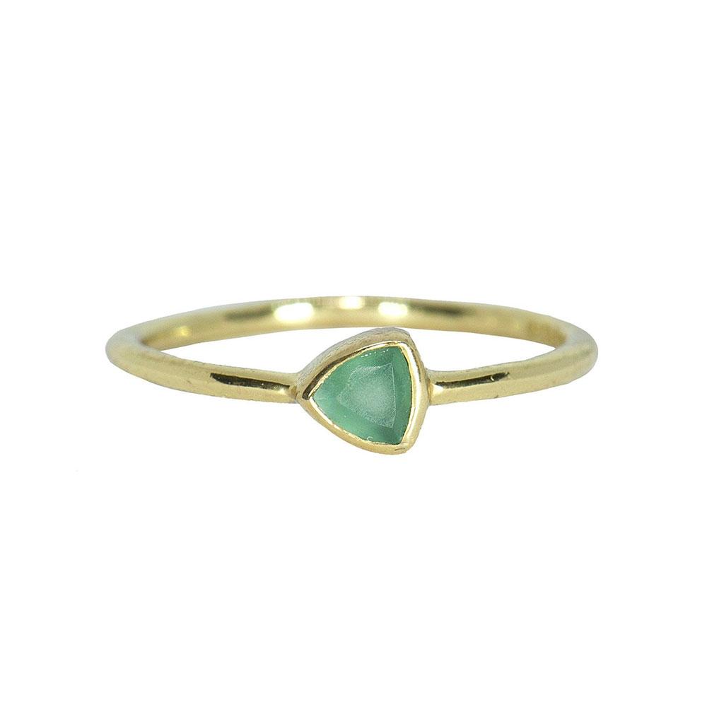 Pura Vida 美國手工 玉髓石三角造型金色戒指