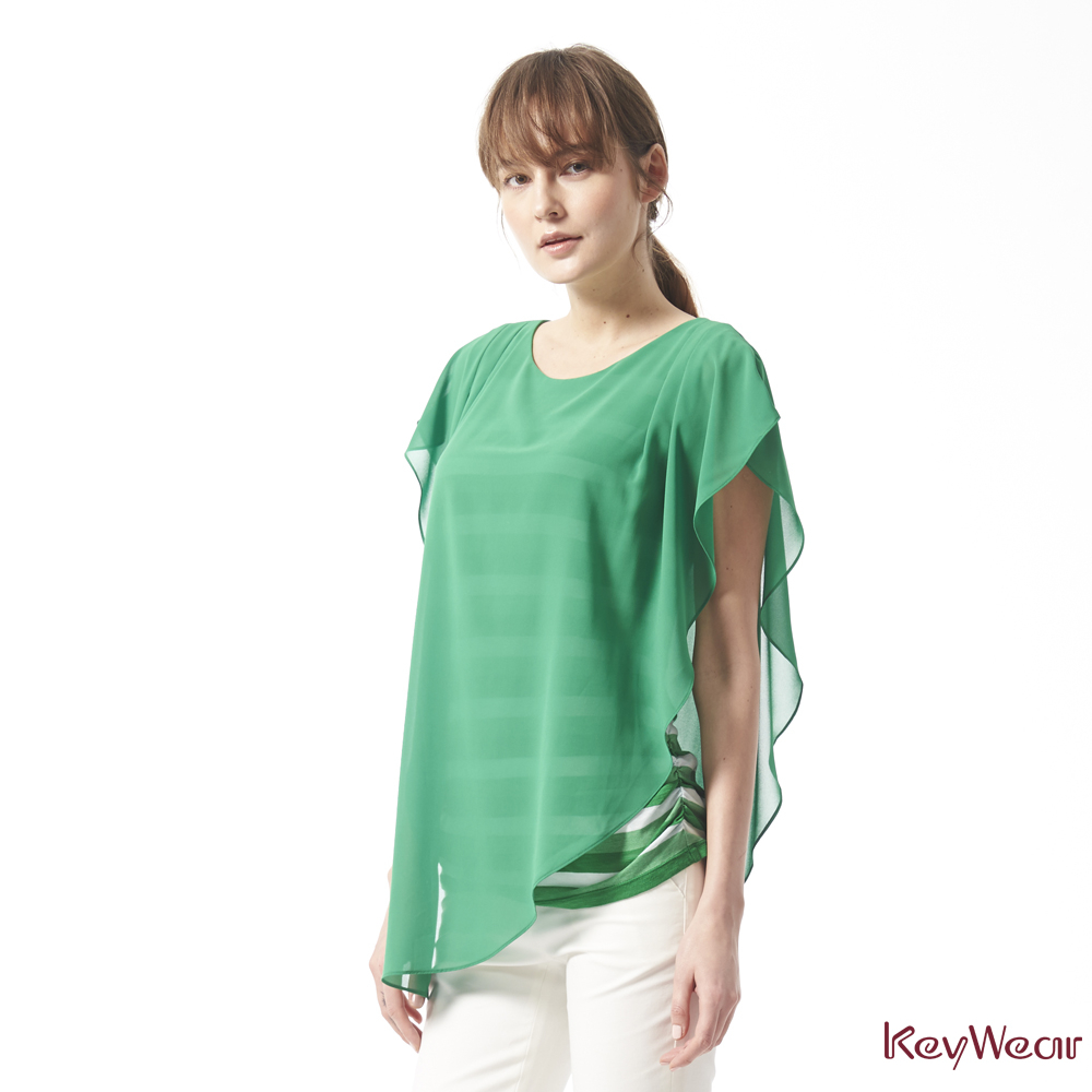 KeyWear奇威名品    歐美時尚飄逸美型垂墜感垂袖上衣-綠色