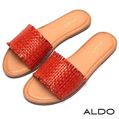 ALDO 原色真皮交叉編織寬版鞋面低跟涼鞋~熱情橘色