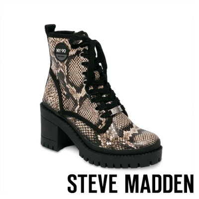 STEVE MADDEN-TIPPER 圓牌造型綁帶粗跟中筒靴-蛇皮咖