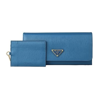 PRADA VITELLO MOVE TR三角鐵LOGO水波紋設計牛皮10卡扣式長夾(藍/附卡夾)