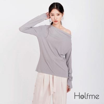 [時時樂限定]Halfme-直紋彈力垂墜感合身上衣-女 (共2色)