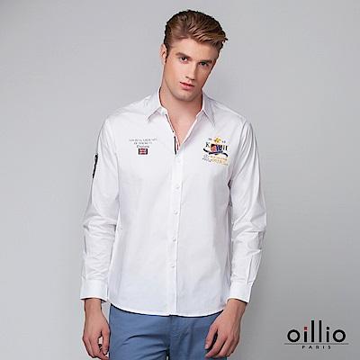 歐洲貴族 oillio 長袖襯衫 電腦刺繡 簡約質感 白色