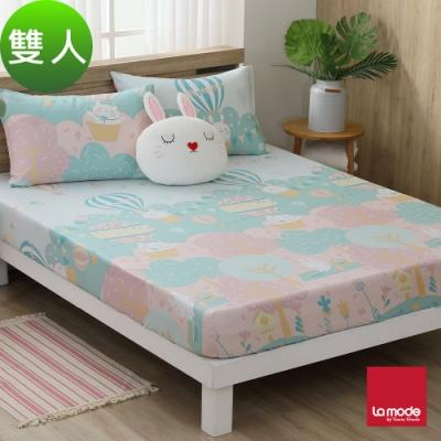 La mode寢飾 櫻花嘉年華環保印染100%精梳棉床包枕套三件組(雙人)