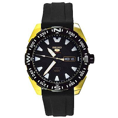 SEIKO 迷途知返5號自動機械金綴矽膠男錶(SRP750K1)-黑x45mm
