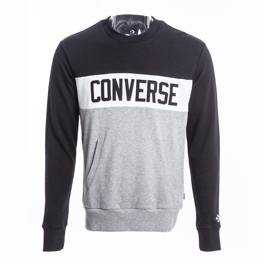 CONVERSE-男休閒長袖上衣10007807A01-黑灰