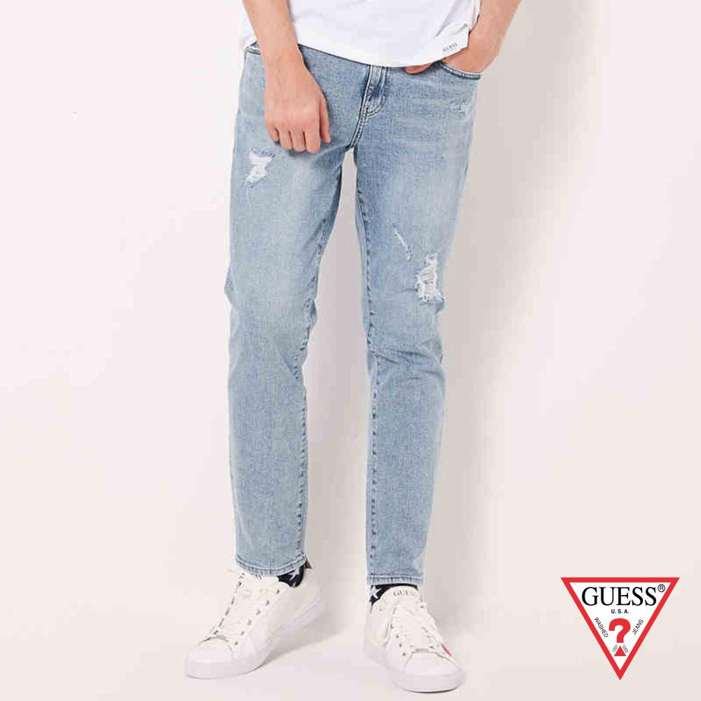 GUESS-男裝-刷破個性牛仔褲-淺藍 原價4990