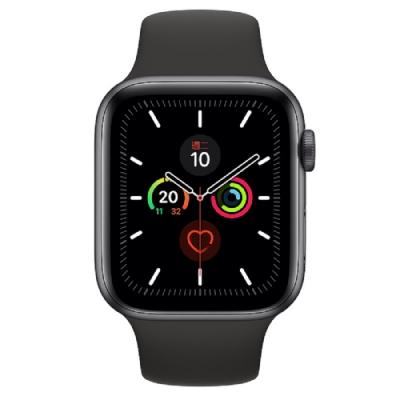 [無卡分期-12期]Apple Watch Series 5(GPS)44mm太空灰鋁錶殼黑運動錶帶
