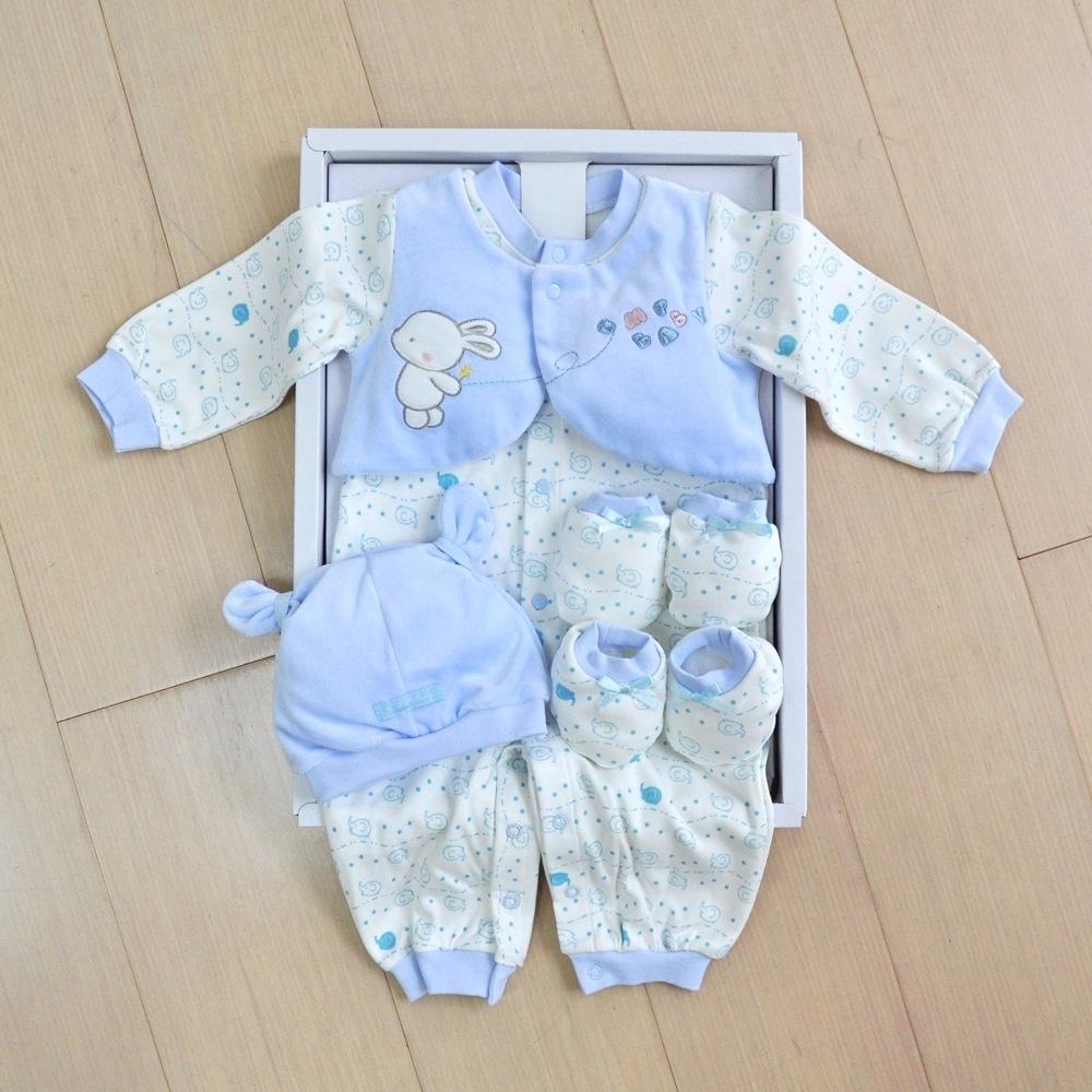 GMP BABY 大象B棉絨兩用兔裝+帽 藍色彌月禮盒