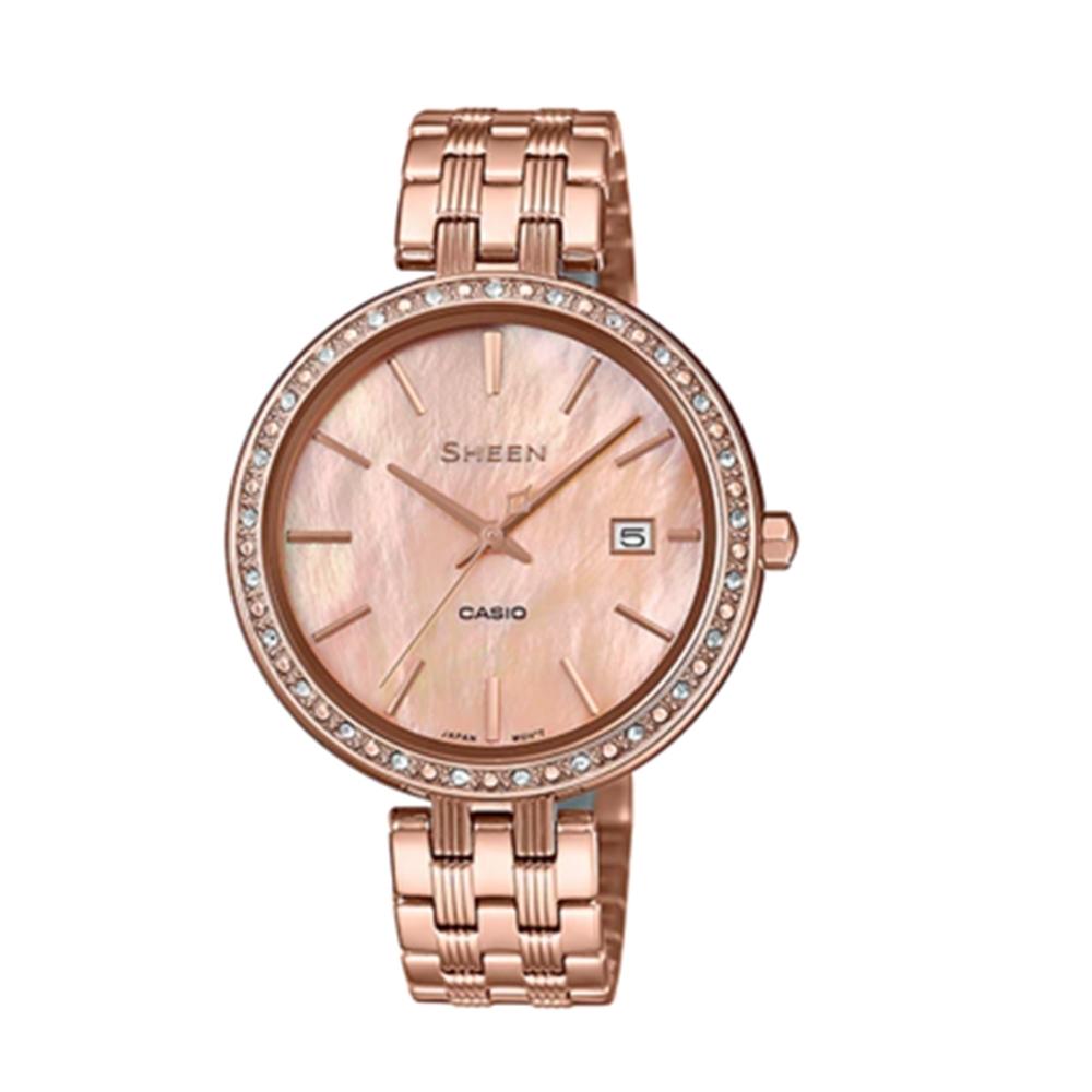 CASIO卡西歐 氣奢華耀眼風采女腕錶(SHE-4052PG-4A)-玫瑰金x26mm