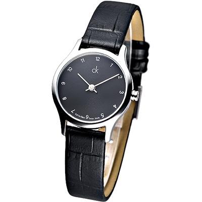 CK 優雅極簡風數字刻度皮帶女錶-黑(K2623111)/24mm