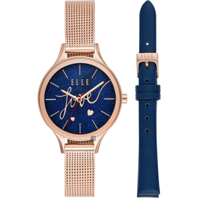 ELLE Ternes 星空米蘭帶女錶 套錶-藍x玫瑰金/34mm ELL27002