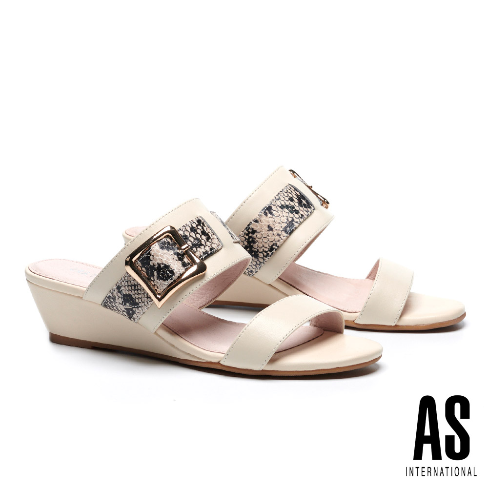 拖鞋 AS 金屬風異材質拼接牛皮楔型低跟拖鞋-米