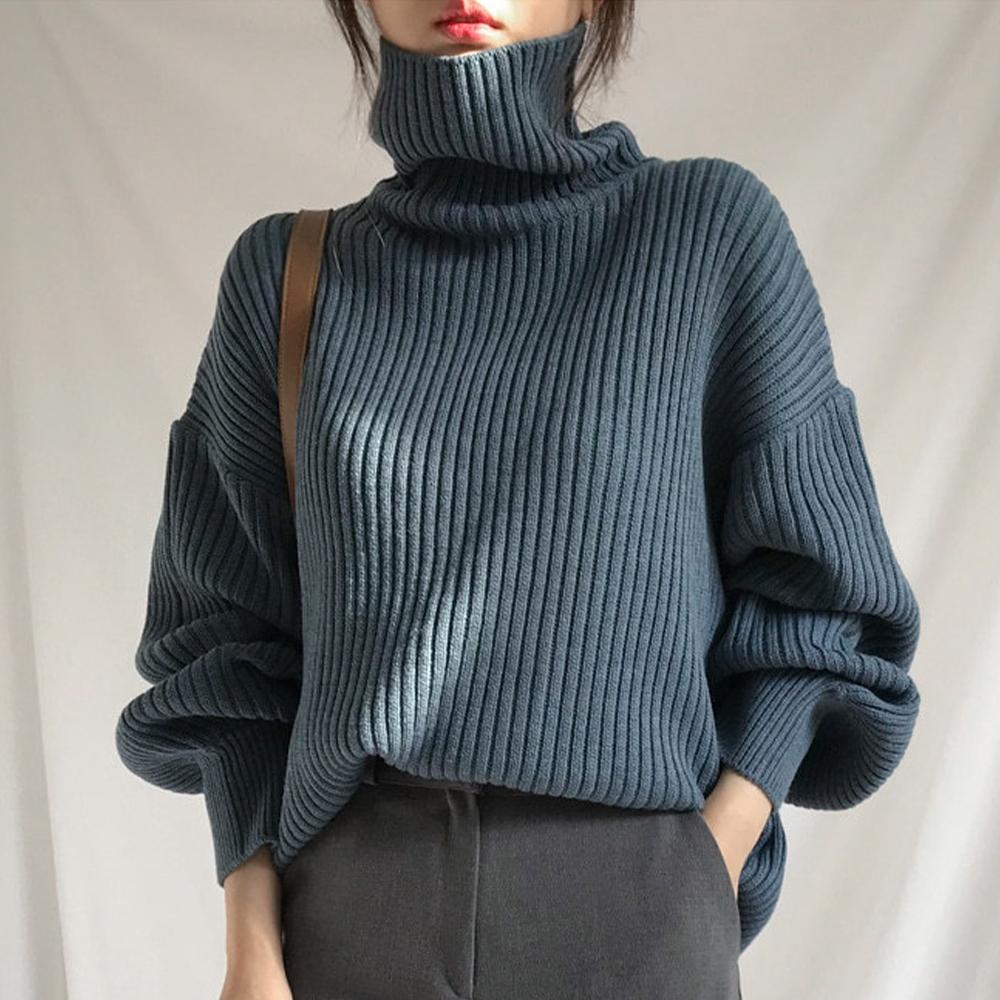 初色  高領豎條紋針織毛衣-共3色-(F可選)