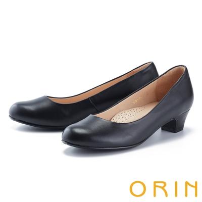 ORIN 經典素面真皮百搭 女 低跟鞋 黑色