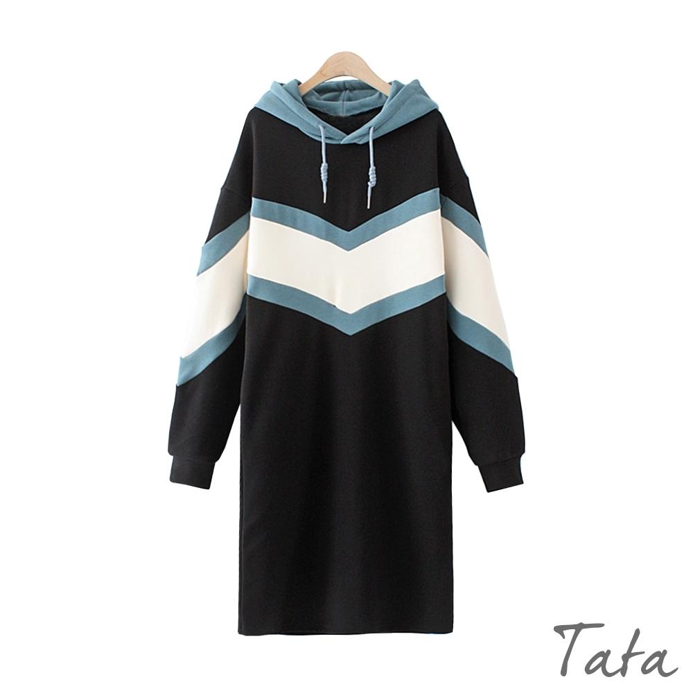 V字拼布內刷絨繫帶連帽洋裝 TATA-(M~XL)