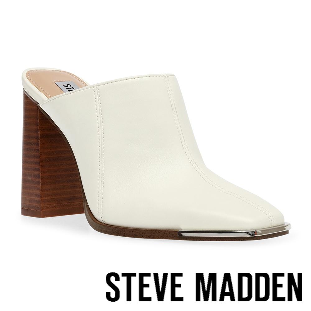 STEVE MADDEN-SADLER 軟皮高跟拖鞋-米杏色