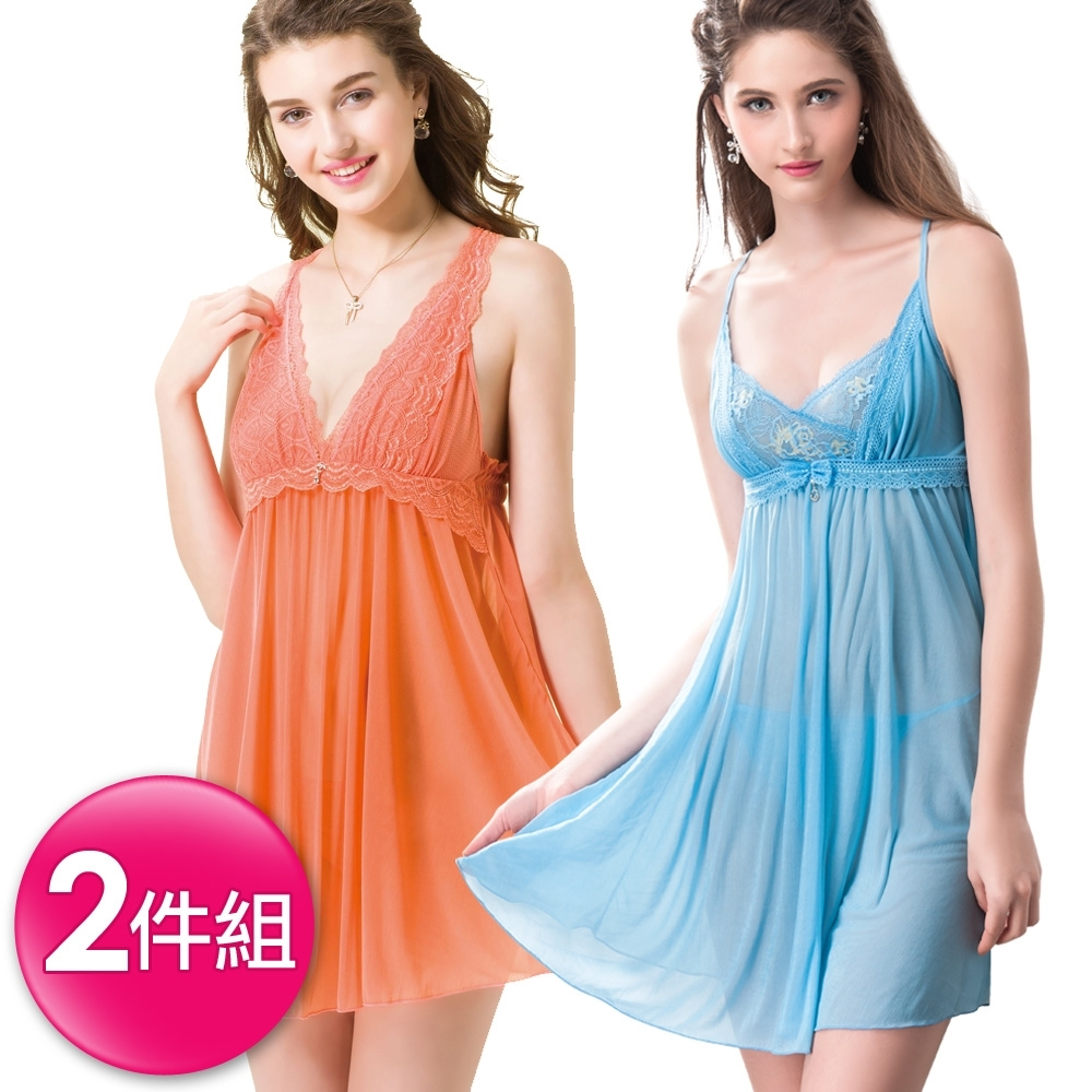 [時時樂限定]思薇爾 撩波系列連身蕾絲性感小夜衣2件組(橘+藍)