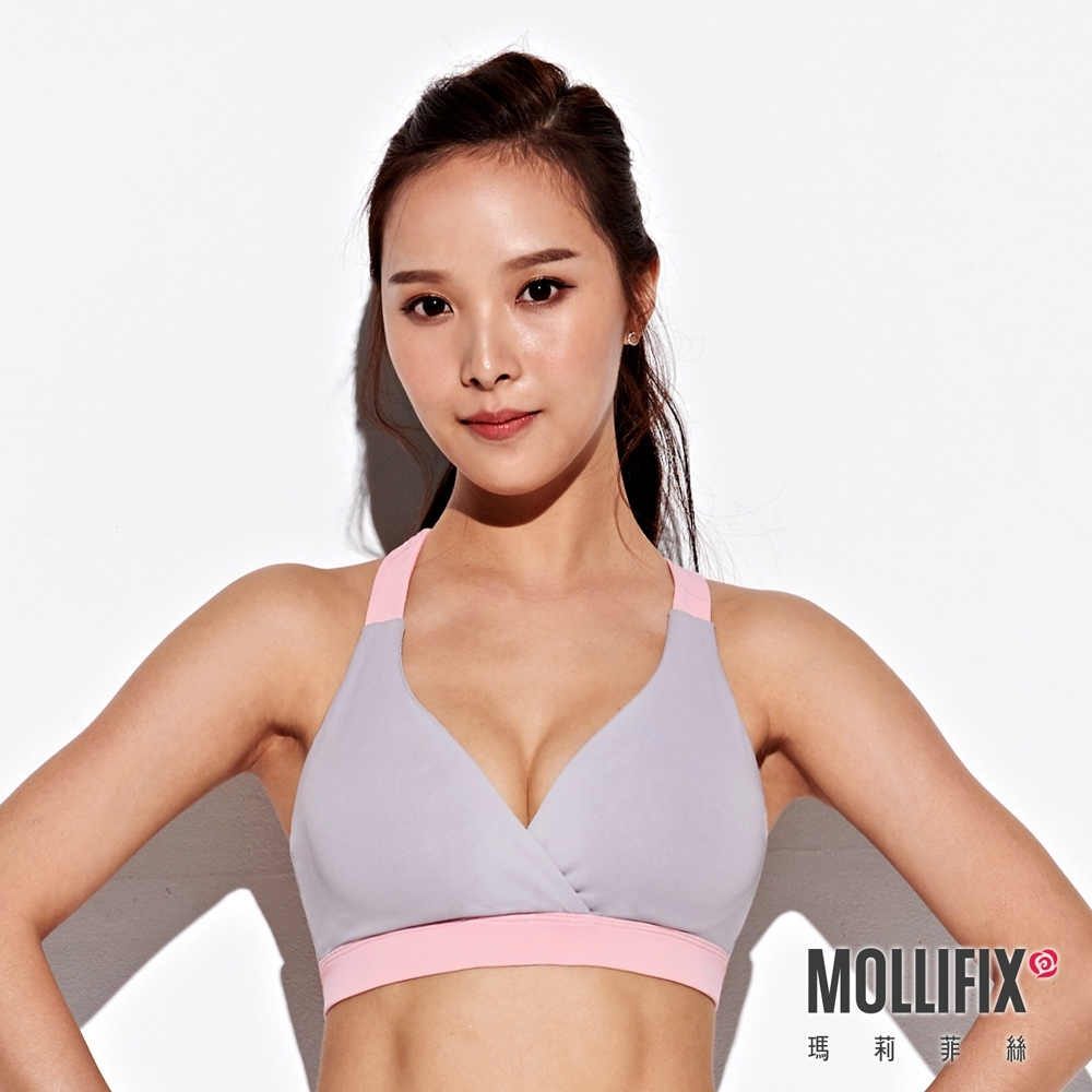 Mollifix 瑪莉菲絲 交疊小V運動內衣 (淡灰+粉)