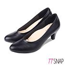 TTSNAP高跟鞋-MIT素面微尖頭羊紋簡約真皮跟鞋 黑