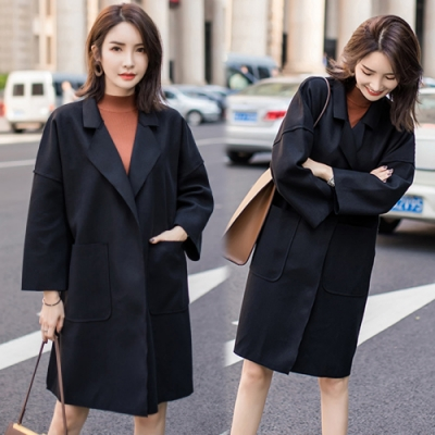 【韓國K.W.】OL經典寬鬆上班大衣風衣-1色