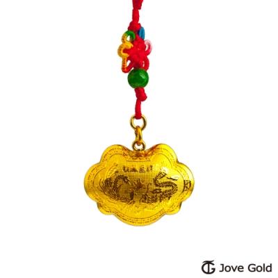 Jove Gold 漾金飾 長命富貴立體黃金胖鎖-3.0錢