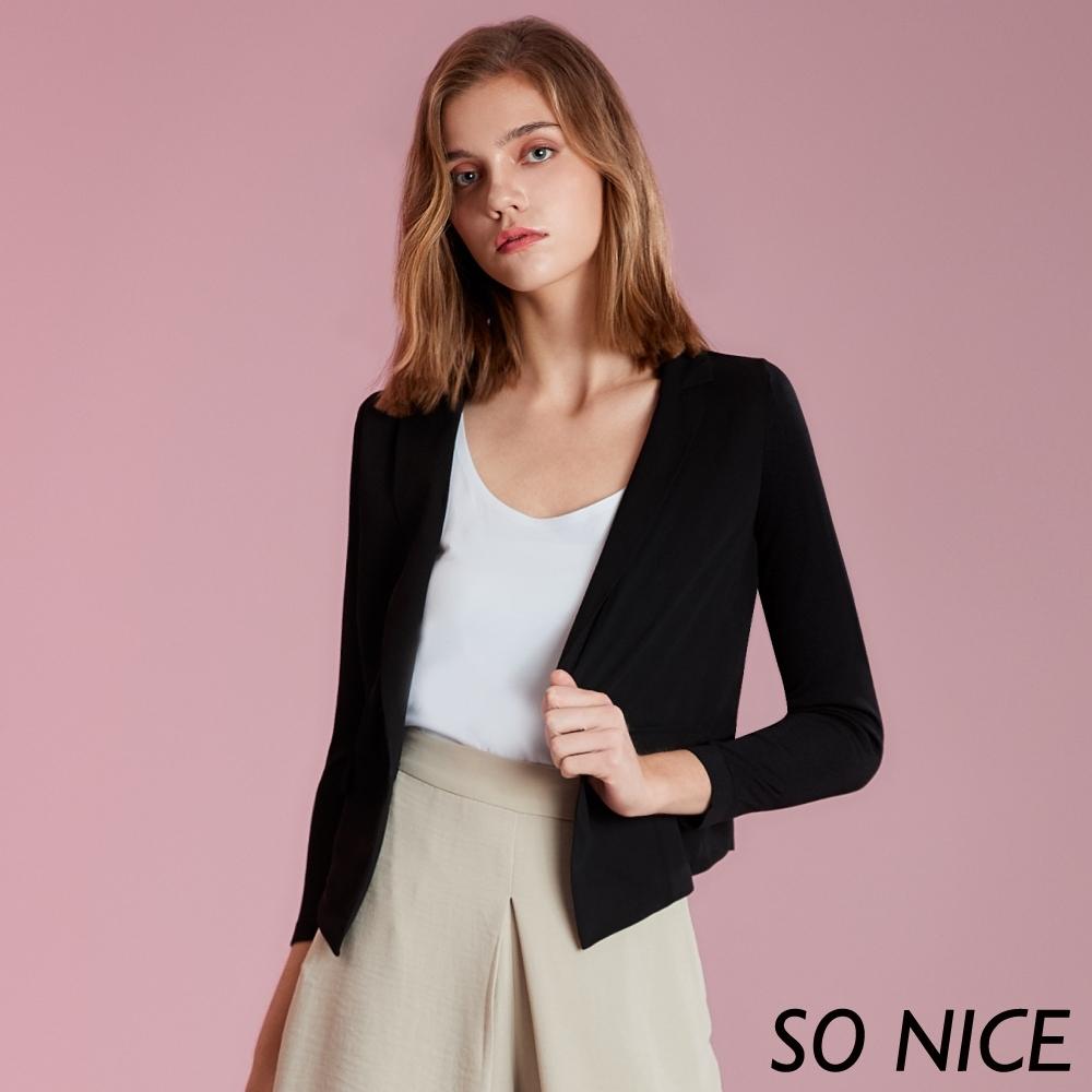 SO NICE簡約拼接針織西裝外套