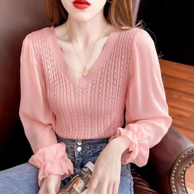 La Belleza雙V領麻花針織拼接雪紡縮口袖子彈性合身針織上衣
