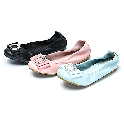 CUMAR舒適真皮-圓形水鑽裝飾真皮莫卡辛鞋-三色