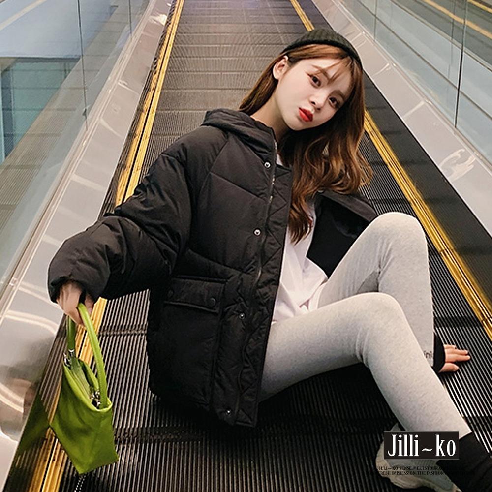 JILLI-KO 時尚保暖立領加厚羽絨棉連帽外套- 黑/杏/黃 (黑色系)