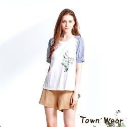 【TOWNWEAR棠葳】拼接條紋印花長版純棉上衣