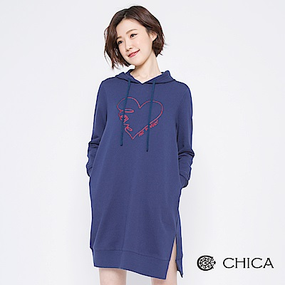 CHICA 溫柔之愛刺繡側開衩連帽洋裝(3色)