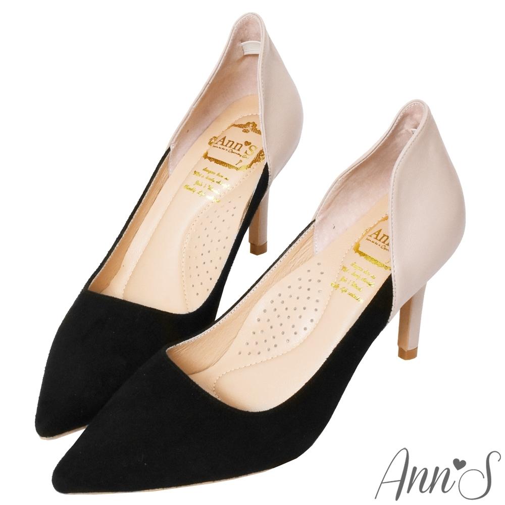 Ann'S復刻經典-拼接羊麂皮牛皮性感弧線高跟鞋-黑杏(版型偏大)